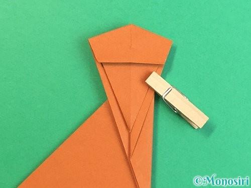 折り紙で立体的な猿の折り方手順24