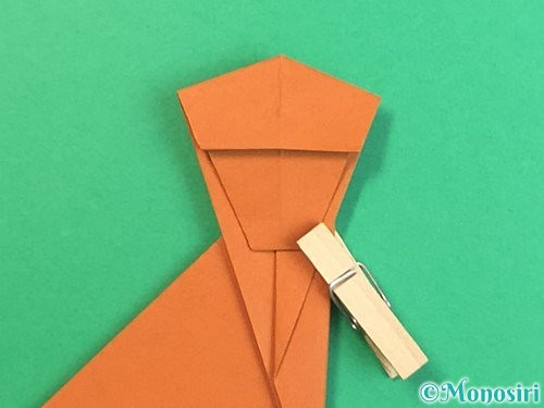 折り紙で立体的な猿の折り方手順26