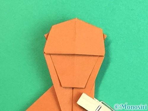 折り紙で立体的な猿の折り方手順30