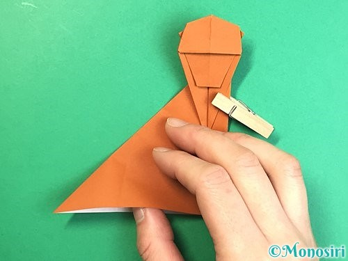 折り紙で立体的な猿の折り方手順33