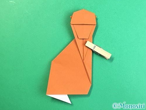 折り紙で立体的な猿の折り方手順36