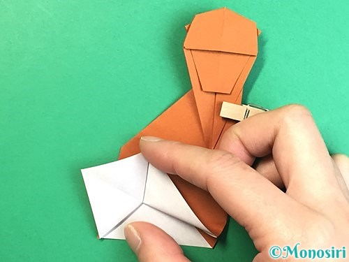 折り紙で立体的な猿の折り方手順42