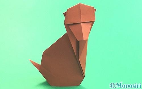 折り紙で折った立体的な猿
