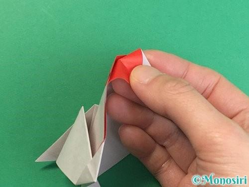 折り紙で立体的なにわとりの折り方手順24