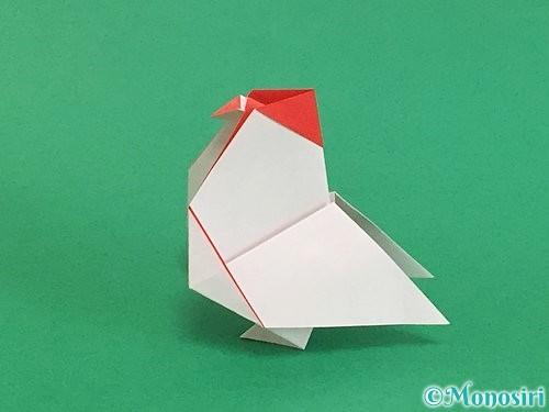 折り紙で立体的なにわとりの折り方手順33