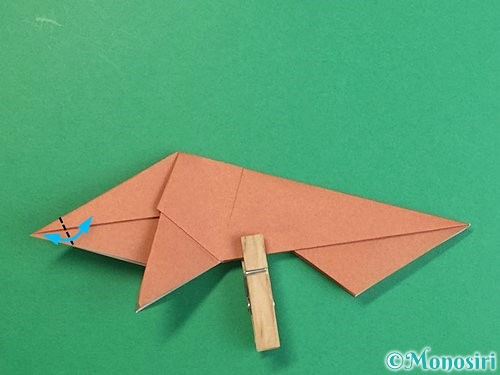 折り紙で立体的な猪の折り方手順38