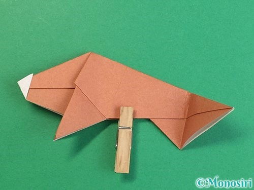 折り紙で立体的な猪の折り方手順45