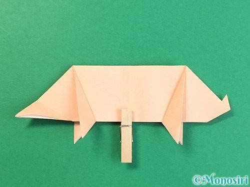 折り紙で立体的な豚の折り方手順21