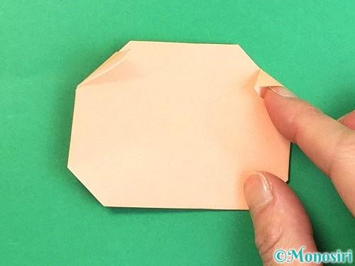 折り紙で豚の顔の折り方手順16
