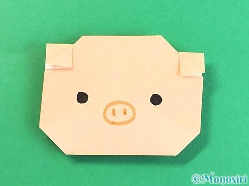 折り紙で豚の顔の折り方手順20
