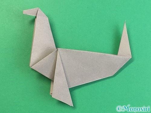 折り紙でアシカ(オットセイ)の折り方手順45