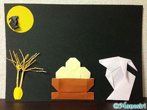 折り紙で作ったお月見飾り