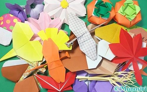 折り紙で作った秋の飾り