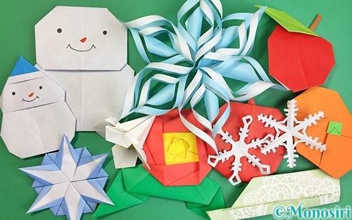 折り紙で作った冬の飾り