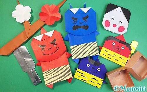 折り紙で作った節分飾り