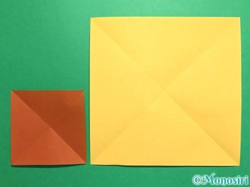 折り紙で立体的なひまわりの折り方手順5