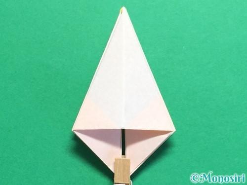 折り紙で立体的なひまわりの折り方手順22
