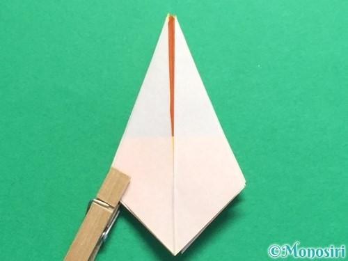折り紙で立体的なひまわりの折り方手順24