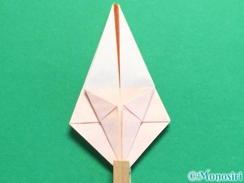 折り紙で立体的なひまわりの折り方手順26