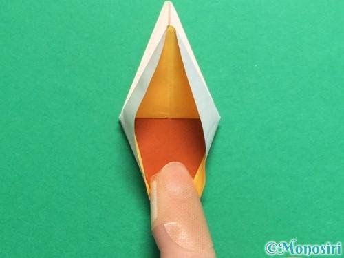 折り紙で立体的なひまわりの折り方手順41