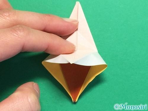 折り紙で立体的なひまわりの折り方手順43