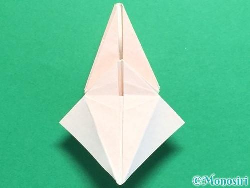 折り紙で立体的なひまわりの折り方手順44