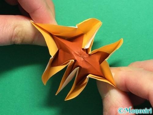 折り紙で立体的なひまわりの折り方手順50
