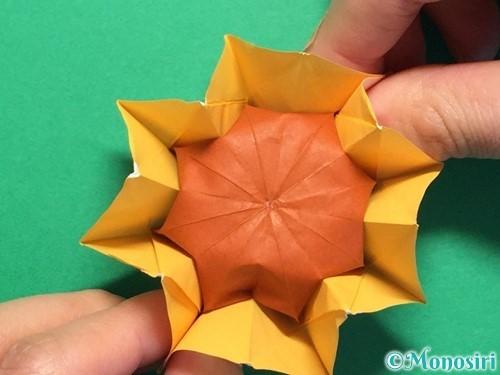 折り紙で立体的なひまわりの折り方手順52