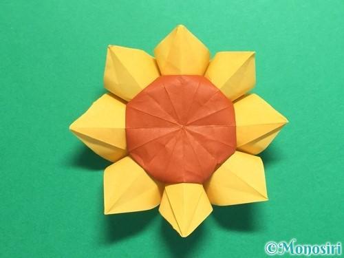 折り紙で立体的なひまわりの折り方手順54