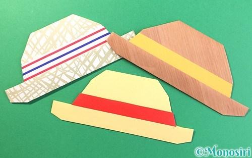 折り紙で折った麦わら帽子