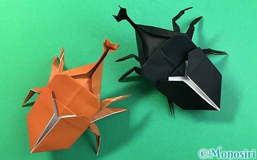 折り紙で作った立体的なカブトムシ
