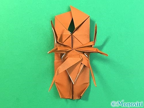 折り紙で立体的なクワガタの折り方手順75