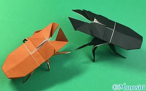折り紙で作った立体的なクワガタ