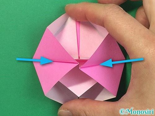 折り紙で立体的なバラの折り方手順20