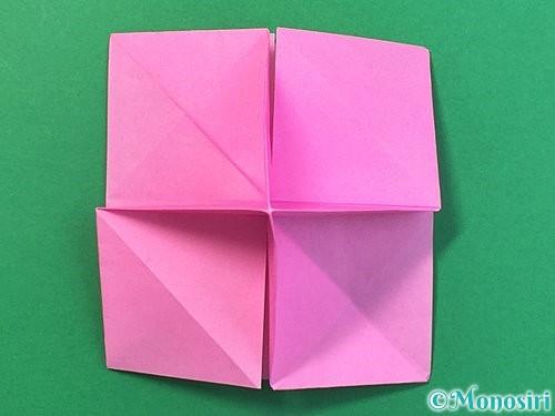 折り紙で立体的なバラの折り方手順34