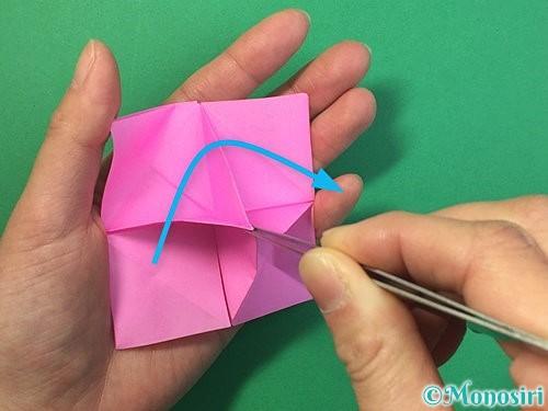 折り紙で立体的なバラの折り方手順36