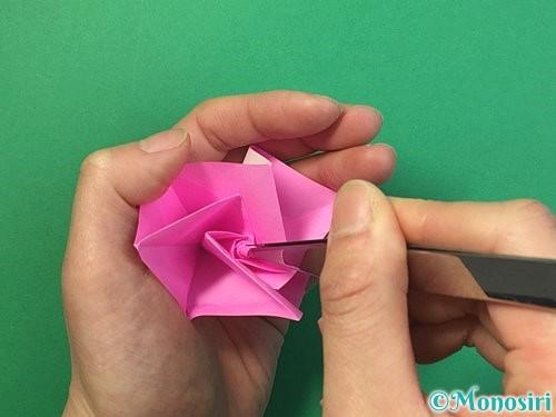 折り紙で立体的なバラの折り方手順37
