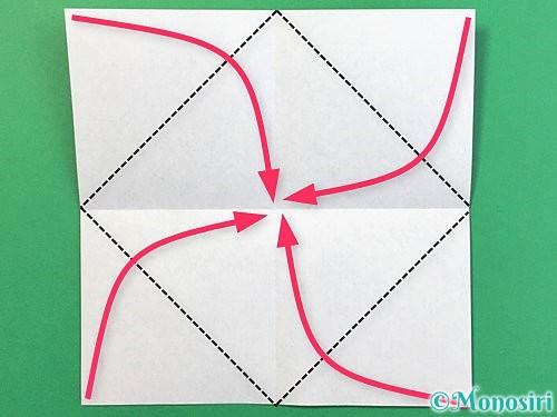 折り紙で睡蓮(蓮の花)の折り方手順3