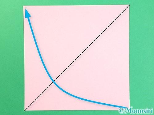 折り紙でコスモスの切り方手順1