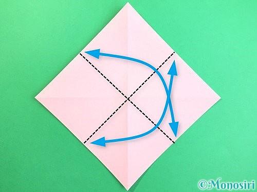 折り紙で立体的なコスモスの折り方手順4