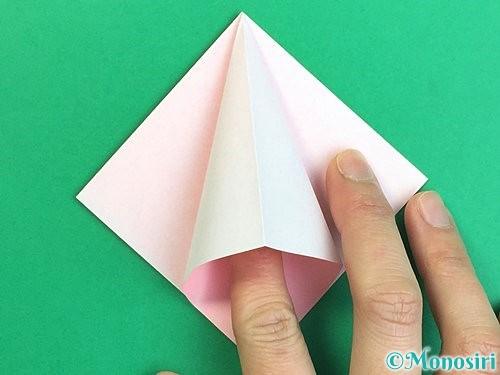 折り紙で立体的なコスモスの折り方手順13