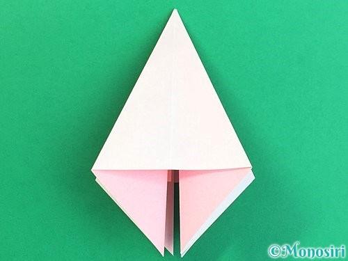 折り紙で立体的なコスモスの折り方手順15