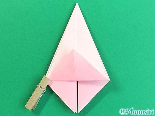 折り紙で立体的なコスモスの折り方手順19
