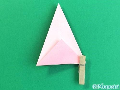 折り紙で立体的なコスモスの折り方手順20