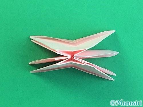 折り紙で立体的なコスモスの折り方手順29