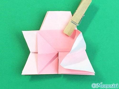 折り紙で立体的なコスモスの折り方手順35