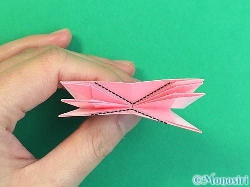 折り紙で立体的なコスモスの折り方手順44