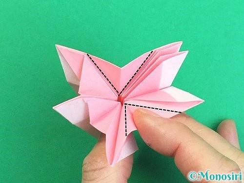折り紙で立体的なコスモスの折り方手順45