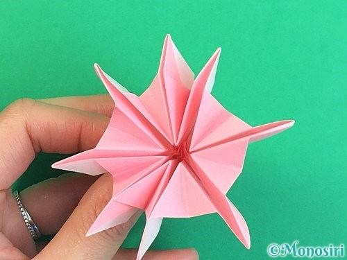 折り紙で立体的なコスモスの折り方手順47