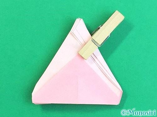 折り紙で立体的なコスモスの折り方手順54